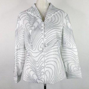 Samuel Dong Jacket XL Zip White Lightweight Collar
